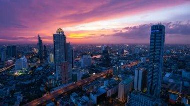 Timelapse City Skyline at sunset. — Stock Video