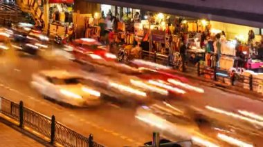 COLORFUL NIGHT TRAFFIC TIME LAPSE - BANGKOK — Stock Video
