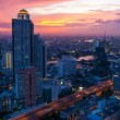 Stock Video: TIMELAPSE OF BANGKOK SKYLINE AT SUNSET
