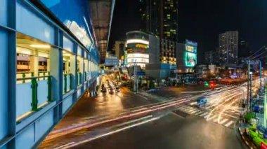 Night Transportation - City Time Lapse — Stock Video