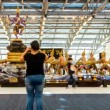 Stock Video: Travelers in Bangkok Suvarnabhumi Airport - Timelapse