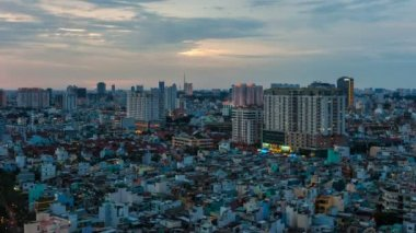 Timelapse of sunset on Ho Chi Minh City, Vietnam — Stock Video