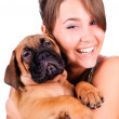 Young woman with bullmastiff — Stock Photo