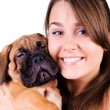 Young woman with bullmastiff — Stock Photo #12456480