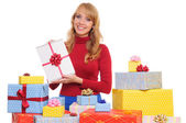 Woman and gift boxes — Stock Photo