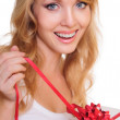 Blonde and a gift box — Stock Photo #14060117