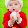 Kid in Santa Claus clothes — Stock Photo