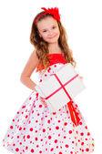 Child holds gift box — Stock Photo