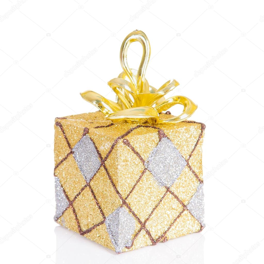 Beautiful present box with overwhelming bow isolated on white — Stock Photo #15797887