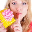 Blonde and a gift box — Stock Photo