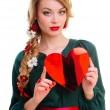 Woman holding Valentines heart — Photo