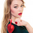 Woman holding Valentines heart — Stock Photo #19722435