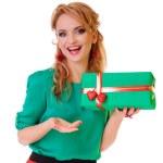 Woman holding gift box — Stock Photo #19769821