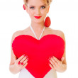 Woman holding Valentines heart — Stock Photo