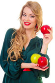 Woman holding apple — Stock Photo