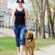 Woman and dog bullmastiff — Stock Photo