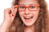 Chica con gafas de lectura — Foto de Stock