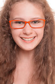 Girl with reading glasses — Stock Photo