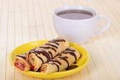 Pancakes with chocolate — Stock Photo