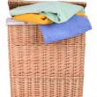 Stock Photo: Clothes basket with towels