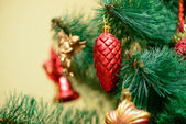 Christmas ornaments on Christmas tree — Stock Photo