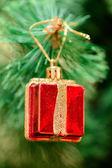 Christmas ornaments on Christmas tree — Stock Photo