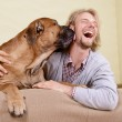 Man with big dog — Stock Photo #39862313