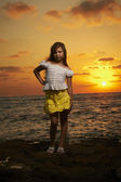 Portrait of the girl at sunset — Stok fotoğraf