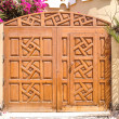 Wooden carved gate — Stock Photo