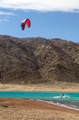 Kitesurfer in lagoon — Photo