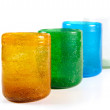 Multi coloured glass cups — 图库照片