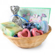 Gift wicker basket - Stock Photo