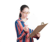 Young woman with a folder — Stock Photo