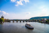 Boats near Charles Bridge — Stock Photo