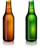 Green and brown bottles of beer — Stock Vector