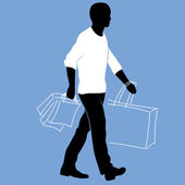 Man with shopping bags — Stock Vector