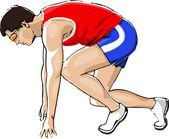 Athlete Sprinting — Stock Vector