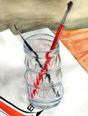 Brushes in a glass — Stock Photo
