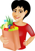 Black-haired girl with food — Stock Vector