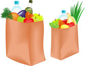 Paper bag with healthy food — Stock Vector