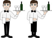 A waiter in a bow tie — Stock Vector