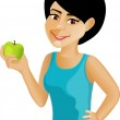 Black-haired girl with an apple — Stock Vector