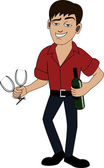 A handsome man with a bottle of wine — Stock Vector