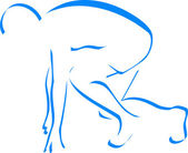 Blue silhouette runner — Stock Vector