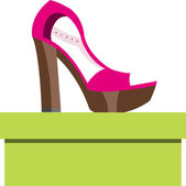 Shoes on a box — Stock Vector