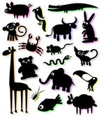 Set of silhouettes of animals — Stock Vector