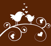 Love birds on a branch — Stock Vector