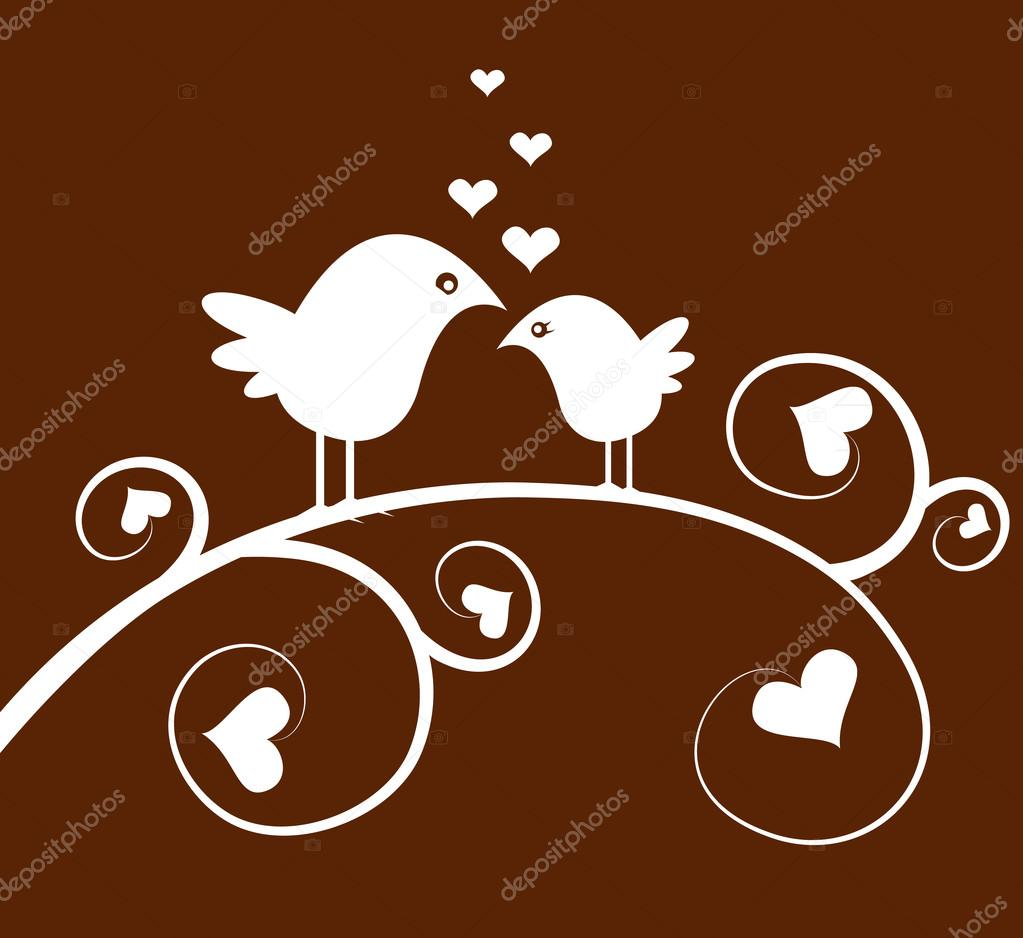 Vector bird on a branch and hearts — Stock Vector #20085455