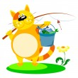 Cat with a fishing rod — Stock Vector