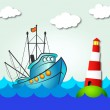 Fishing boat and lighthouse — Stock Vector #27954521